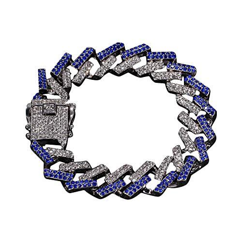 Cuban Link Armband Hip Hop Armband für Herren Damen Iced Out Chain Armband mit Bling Strass (Link-armband Frauen Cuban Für)