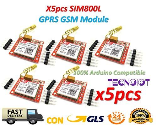 5pcs SIM800L GPRS GSM Module PCB Antenna SIM Board Quad band |5pcs Modulo GPRS SIM800L Scheda gsm Micro SIM Card Quad-Band Porta seriale TTL con antenna per Arduino MCU