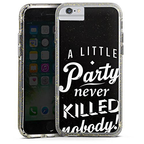 Apple iPhone 7 Plus Bumper Hülle Bumper Case Glitzer Hülle Party Phrases Sayings Bumper Case Glitzer gold