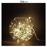 ELINKUME® 16,4 pi (5 M) 50LEDs à piles étanche LED Guirlande lumières 2W 3V fil argenté Flexible guirlande lumineuse (5 M, blanc chaud 3000 K)