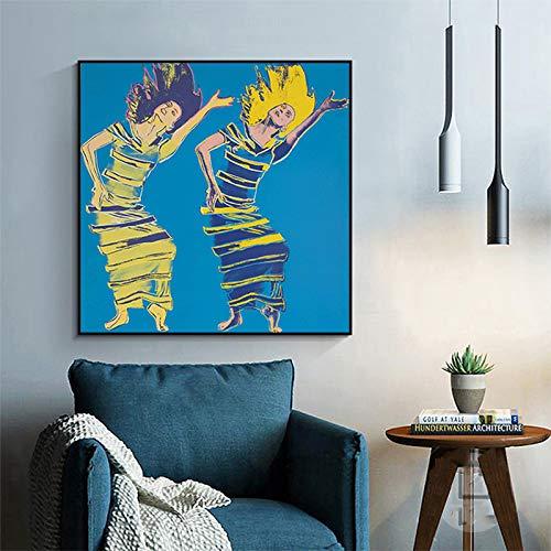 yhyxll Pop-Art-Tänzerin von Andy Warhol Leinwandbilder für Wohnzimmer Abstrakte Kunst Poster und Drucke Moderne dekorative Gemälde A 50x50cm