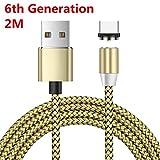 Interesting 6. Version Drehen Sie Runde Geflochtene magnetische USB C Ladekabel USB 3.1 Typ C Ladegerät Kabel für Samsung Galaxy S7/S8/S8 +/S9/S9 + (Nur Aufladen) -2M, Gold