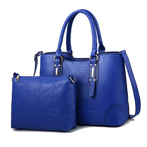 ZPFME Womens Umhängetaschen Sets Mode Umhängetasche Elegant Shopper Leder Party Retro Damen Tasche Blue