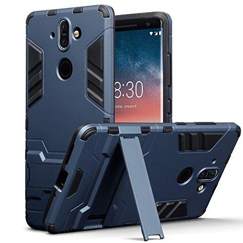 TERRAPIN, Kompatibel mit Nokia 8 Sirocco Hülle, Silikon + Polycarbonat Tasche mit Standfunktion - Dunkelblau