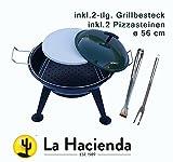 La Hacienda Pizza Grill Ø 56 cm Holzkohlegrill Feuerschale inkl. 2-tlg. Grillbesteck