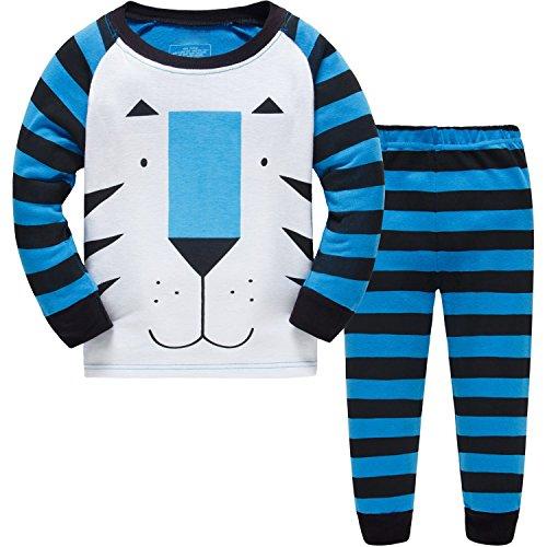 Grsafety Baby-Pyjama-Baumwollkleinkind-Jungen-Kindertiger-Nachtwäsche-Pyjamas-Satz 3 Jahre (Blau-bett-satz)