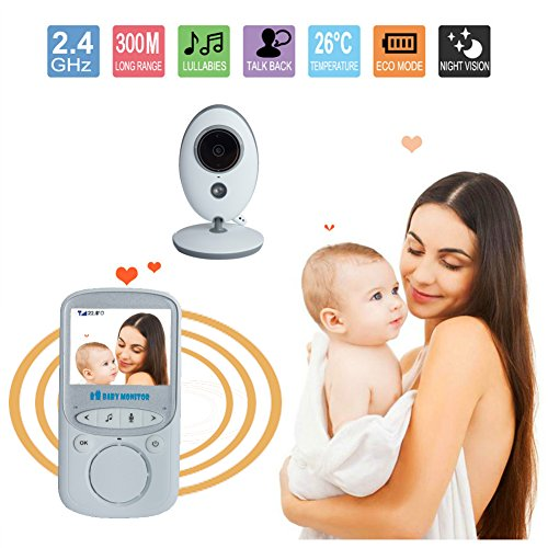 """URNINAUEU the baby Monitor, 2.4"""" Video the baby Monitor utilizing Night vision, Two strategy talk, Temperature Monitoring & Built-in Lullabies-Upgraded UK"""