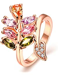 Yellow Chimes Swiss Zircon Multicolor Rose Gold Crystal Ring for Women