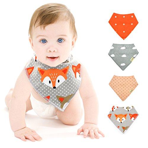 Baberos Bandana para Bebés Bebé Bandana Babeante Baberos Unisex, para los Bebés y los Niños Pequeños, Algodón Puro Estilo del Pañuelo 4-piezas