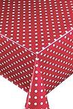 Wachstuch Breite & Länge wählbar - LMKV Punkte (ca. 1 cm) Rot Weiss 80 x 250 bzw. 250x80 cm abwaschbare Tischdecke von DecoHometextil