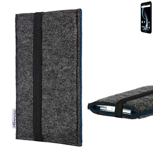 flat.design Handyhülle Lagoa für Allview X4 Soul Infinity L | Farbe: anthrazit/blau | Smartphone-Tasche aus Filz | Handy Schutzhülle| Handytasche Made in Germany