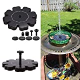 Qulista Solar Pumpe Teichpumpe Klein Springbrunnen mit Verschiedene Brunnendüsen Solar Wasserpumpe Fontäne für Garten Teich Vogel-Bad Schwarz (Typ 3)