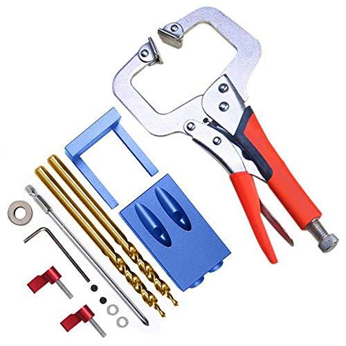 TOOGOO Neue Mini Pocket Hole Jig Kit System Für Holzbearbeitung Und Schreinerei + Schritt Bohrer Und Zubeh?r Holz Arbeits Werkzeug Set -