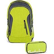 Satch Sac à dos d'écolier Set de 2accessoires avec Sleek Ginger Lime 206vert Melange