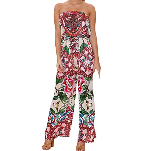 Kleider Damen Elegant, LHWY Frauen Vintage Retro Kleidung aus Schulter Druck Jumpsuit Beach Party Clubwear lose Damen Tube Top Playsuit Strampler (M, Multicolor) (Cent = 50 Kleidung)