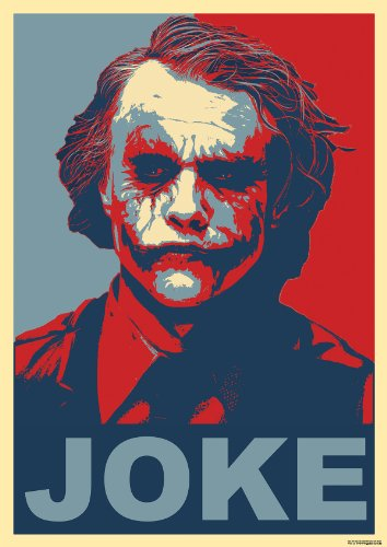 Joker Poster JOKE - red blue Poster - batman the dark knight red blue JOKER Poster rot blau - shepard fairey obama hope poster great art red blue poster collection why so serious 33,4 x 23,6 Inch (85cm x 60cm) by www.great-art.de