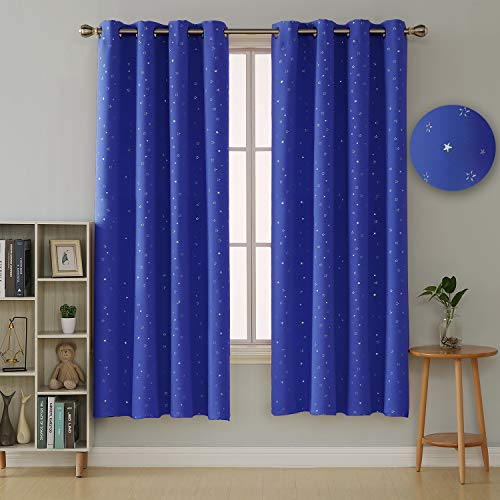 Deconovo Kleine Sterne Verdunkelungsvorhang Blickdicht Ösenschal Gardinen vorhänge 180x140 cm Blau 2er Set - Baby-mädchen-kinderzimmer-fenster-vorhang
