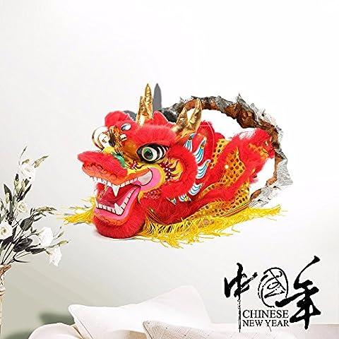 Cartoon Anime dekorative Malerei Schlafzimmer Wohnzimmer Fernseher Sofa Hintergrund HD-Dimensionalen 3D Wall Sticker Wallpaper (China Dragon), 82 x 58 (Hd Weihnachten Wallpaper)