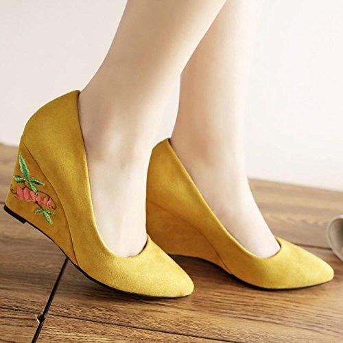 COOLCEPT Damen Klassische Chinese Embroidery Schuhe Fashion Keilabsatz Ladies Hochzeit Pumps 782 Yellow