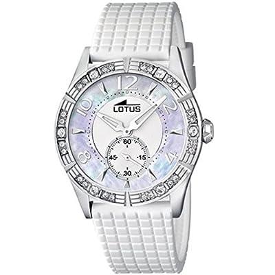 Lotus 15737/1 - Reloj analógico de cuarzo para mujer con correa de plástico, color blanco