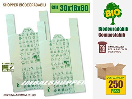 Buste Shopper Biodegradabili Compostabili, cm 30+18x60 | Scatola da 250 sacchetti. A Norma EN13432.