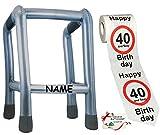 Unbekannt 2 TLG. Set: __ Gehhilfe - ( Aufblasbar ) incl. Name + Toilettenpapier Rolle -  40. Geburtstag / vierzig und Sexy - Happy Birthday  - lustiger Partyartikel -..