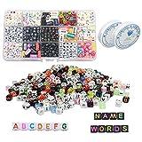 7ba7e2a87d82 Cuentas de acrílico de Alfabeto DIY Abalorios Letras Multicolor con 2  Cordón para Hacer Brazaletes Collares