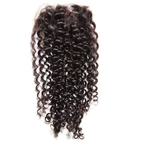 Cheveux Vierges brésiliens de qualité supérieure tissage cheveux vierges Frisés en dentelle fermeture sans partie, noir naturel (35,6 cm)