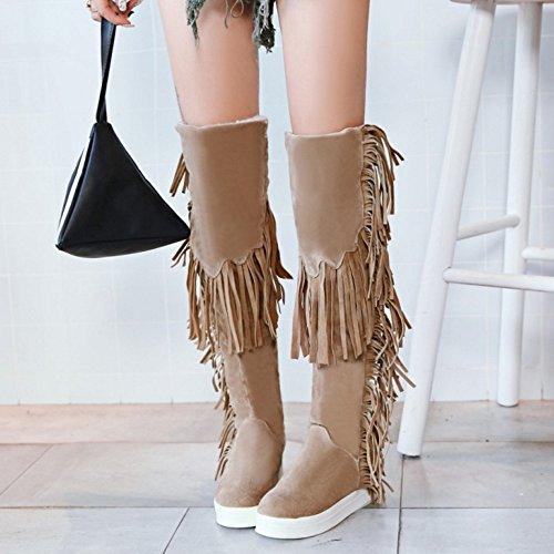 TAOFFEN Damen Mode Flache Winter Langschaft Stiefel Mit Quasten Beige