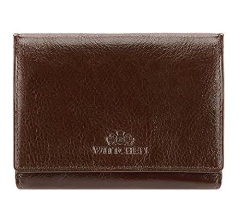WITTCHEN Damen Portemonnaie Geldbörse, 2x12x9cm, Braun, Naturleder, Leder, Handmade, 21-1-071-L4 (12 Magische Münze)