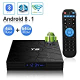 Android TV BOX,T9 Android 8.1 TV BOX 4GB RAM/64GB ROM RK3328 Quad-Core 64 Bits Supporto 2.4Ghz/5.0Ghz WiFi Bluetooth 4.1 DLNA 3D 4K HDMI H.265 Smart TV BOX