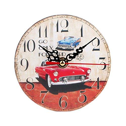 FEITONG Estilo Vintage reloj de pared silencioso de madera antiguo (B)
