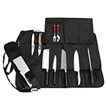 QEES Chefs Knife Roll Bag with 17 Compartments, Holding Knives, Spoons and Forks, Waterproof Knife Storage Case, Kitchen Tool Roll Bag DD14 (Black)