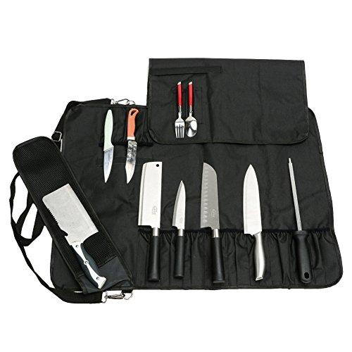 QEES Trousse De Couteaux Chef Professionnel Sacoche Couteaux 18 Places avec Bandoulière en Tissus Oxford Serré Noir