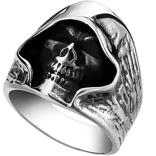 XBYN Parca Grande del Motorista de época gótica Casted la Muerte de los Hombres Acero Inoxidable del cráneo del Punk Anillo de Plata Negro