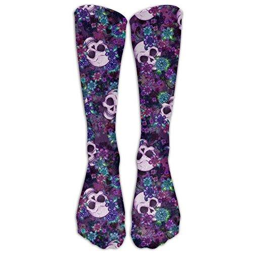 Flowers And Skulls compression-socks For Men & Women - BEST For Running, Nurses, Shin Splints, Flight Travel, Skiing & Maternity Pregnancy - Boost Athletic Stamina & Recovery -