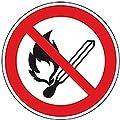 LEMAX® Verbotsschild Keine offene Flamme,Feuer,offene Zünd.,ASR/ISO,Folie,Ø 200mm
