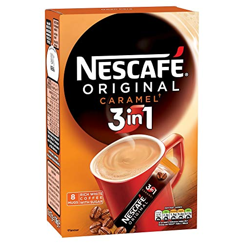 Nescafe Original 3in1 Caramel Instant Coffee Sachets Box 8x17g, 136g