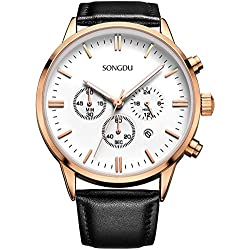 SONGDU Men's Big Face Multi-Function Chronograph Quartz Watch With Black Pin Buckle Leather Strap and White Dial Plate--Ideal and Celebrative Gift for Christmas and New Year Sales DM-9201-P05ARB