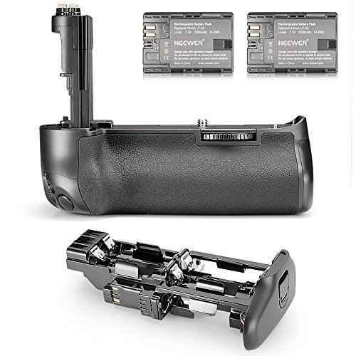 Galleria fotografica Neewer Impugnatura Portabatteria Verticale Sostitutiva BG-E11 con 2 Batterie a Litio di Ricambio Ricaricabili 2000mAh LP-E6, per Reflex Digitali Canon EOS 5D Mark III 5DS 5DSR