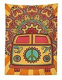 ABAKUHAUS Fête des Années 70 Tapisserie, Hippie Vintage Mini Van Décor Ornemental à Illustration Signe de la Paix, Colors Qui ne s'estompent Pas, 110 x 150 cm, Turquoise