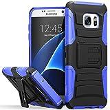 Galaxy S7 Edge coque, Fosmon [STURDY] Premium lourd devoir hybride double couche résistant aux choc Housse avec béquille et étui de revolver pour Samsung Galaxy S7 Edge (Noir / Bleu)