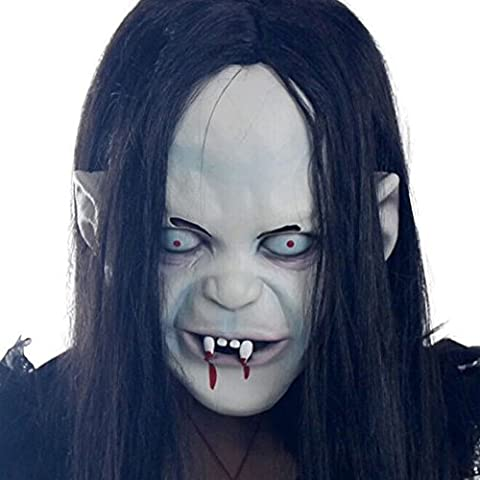 Huqiqun Halloween Mask Curse Sadako Ghost Masque de zombies de