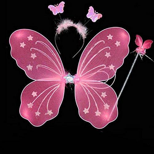 Edealing 1pcs Mädchen-Schmetterlings-Fee Angel Wings Wand Kopfbedeckung Kinder Tinkerbell Set Abendkleid (Angel Dress Up Für Kinder)