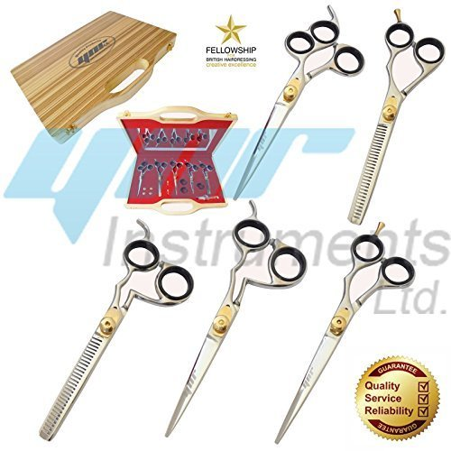 cadeau de Noël ynr professionnel ciseaux de coiffure pour coiffeur 5 pièces Set main droite japonais J2 acier inoxydable