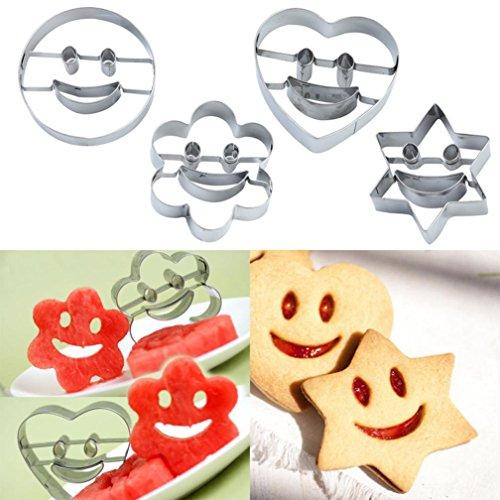 HCFKJ 4 Teile / Satz LäChelndes Gesicht Cookies Cutter GebäCk Keks Kuchen Dekorieren Mould Tools (A)
