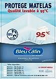 Bleu Câlin Protège Matelas Lavable à 95° Forme Drap Housse Coton Blanc Lit...