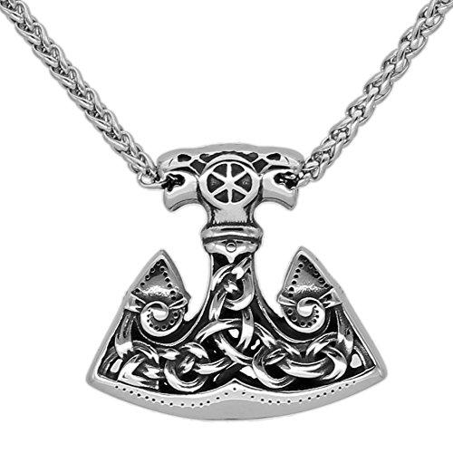 LoverInDec Herren-Halskette mit Anhänger Edelstahl Wikinger Wolf Thor Hammer Axt Talisman Mjolnir
