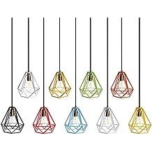 Jaula Lámpara de Techo Luz Bulbo Colgante de Loft Diamante de Imitación Metal Vendimia Decoración - Negro