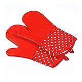 TFENG Ofenhandschuhe, 19 x 33cm, Hitzebeständige Grillhandschuhe, Anti-Rutsch Backofen Handschuhe (Rot, 1 paar)
